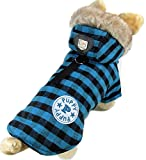 Winterjacke mit Kapuze, für kleine Hunde und Katzen, Baumwolle, kariert, erhältlich in den Größen XS, S, M, L, XL