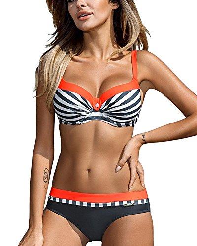 Tomwell Damen Seitlich Gebunden Bikini-Sets Abnehmbar Bademode Push-up Bikinioberteil mit Nackenträger Orange DE 38