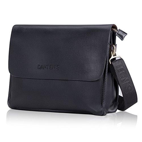 Men Bags, Leather Shoulder Bag Messenger Bag Cross body Bag with Adjustable Canvas Strap Briefcase for Work Travel Office School in Horizontal Style- Black