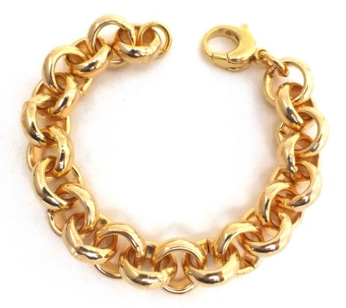 Bracelet Chaine Rolò, Or Doublé 10/000, largeur 14mm, longueur sélectionnable, directement de l'usine italienne