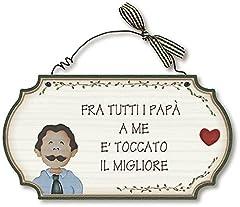 Idea Regalo - Aracne Italy targhette Country in Legno da Appendere Papa' Migliore