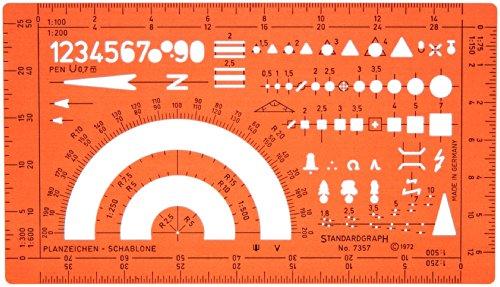Katasterschablone Planzeichnen Architekt Schablone Zeichenschablone - Innenarchitektur Technisches Zeichnen kleines Dreieck Kreis Quadrat Symbole Maßstab 1:75 1:150 1:100 1:200 1:250 1:300 1:500 1:600
