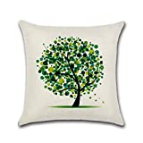 Tding extraordinary Pillow Case Square Cushion Cover Cartoon Life Tree Flower Tree Pattern Holding Pillow Case (No Pillow Core)(None one size H04)