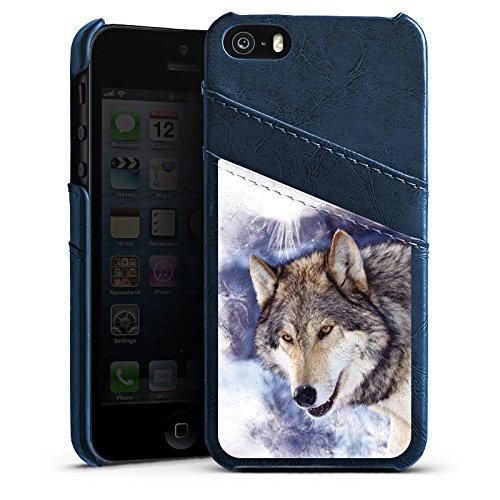 Apple iPhone 5 Housse Outdoor Étui militaire Coque Neige Loup Chien Étui en cuir bleu marine