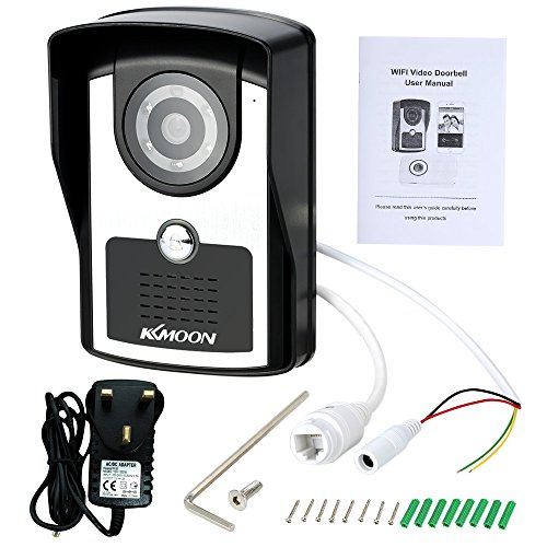 KKMOON Wireless Video Door Phone Indoor Monitor Clear Night Vision Waterproof Outdoor Camera with Rain Cover Intercom System HD 720P Doorbell + 4G SD Card support P2P Android/iOS APP Snapshot Unlock