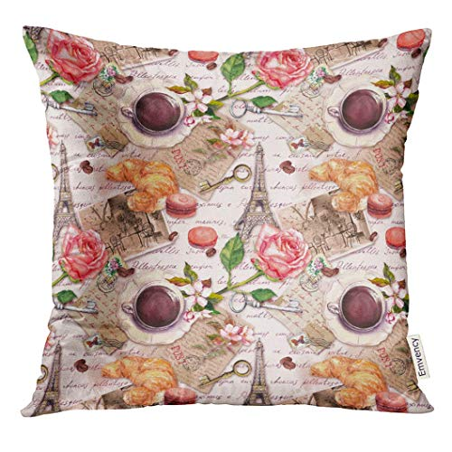 Twilight Rose Cup (Throw Pillow Cover Floral Hand Written Letters Eiffel Tower Coffee Tea Cup Macaroon Cakes Rose Flowers Stamps Keys Vintage Decorative Pillow Case Home Decor Square 18x18 Inches Pillowcase)