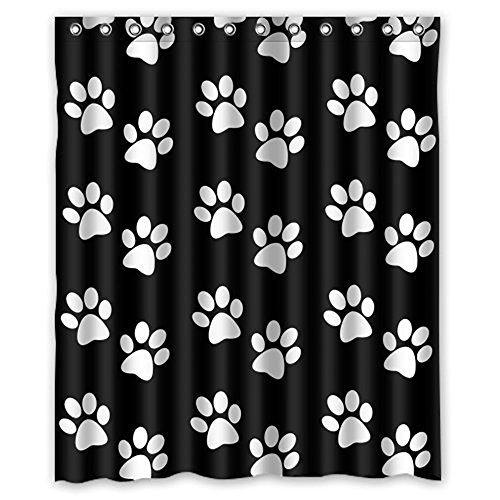 Süßer Hund Klauen Wasserdicht Stoff Vorhang für die Dusche, 72x 183cm, schwarz weiß, Polyester-Mischgewebe, multi, 60x72 (Schwarz Stoff Dusche Vorhang Liner)