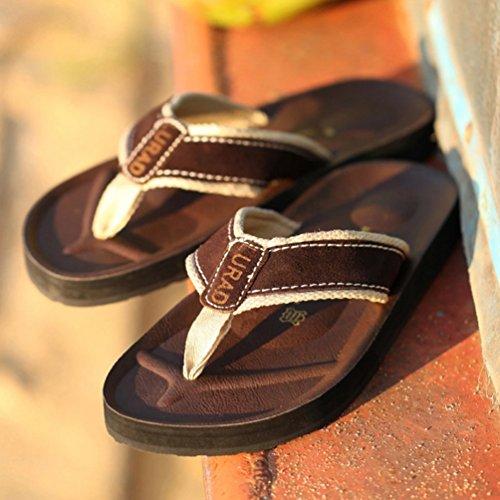 Baymate Uomo Infradito Antiscivolo Pantofole Spiaggia Dei Sandali Flip Flops Marrone
