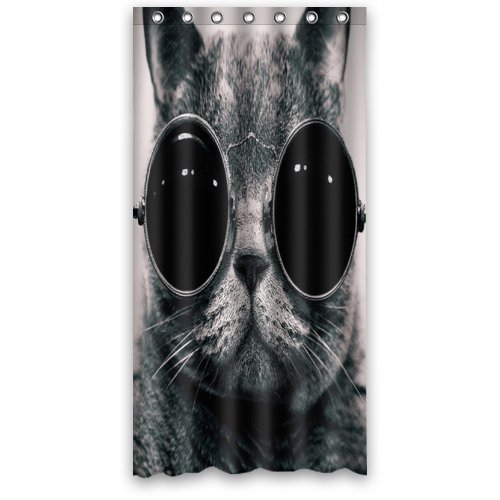 36(W) X72(H) Zoll Vintage Foto von Witz Fat Cat mit Retro Sonnenbrille Duschvorhang New Polyester-Wasserdicht-Bad Vorhang (Dusche Ringe im lieferumfang enthalten)