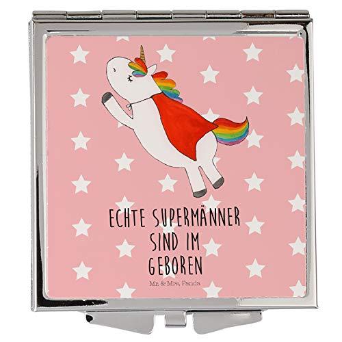 Mr. & Mrs. Panda Handtasche, schminken, Handtaschenspiegel quadratisch Einhorn Superman Geburtstag mit Spruch - Farbe Rot Pastell