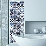 Walplus Wandaufkleber ablösbar selbstklebend Wandkunst Aufkleber Vinyl Wohndeko DIY Wohnzimmer Schlafzimmer Küche Dekor Tapete Geschenk Spanish & Marokkanische blau Fliesen Wand Sticker Mix - 20 cm x