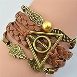 Armband Heiligtümer des Todes - Harry Potter - mit Schnatz (Snitch) und Schleiereulen, altgold - Deathly Hallows & Wings Owls