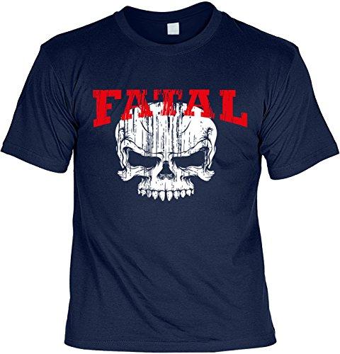 Biker & Motorrad T-Shirt Fatal Skull Shirt 4 Heroes Geburtstag Geschenk geil bedruckt Navyblau
