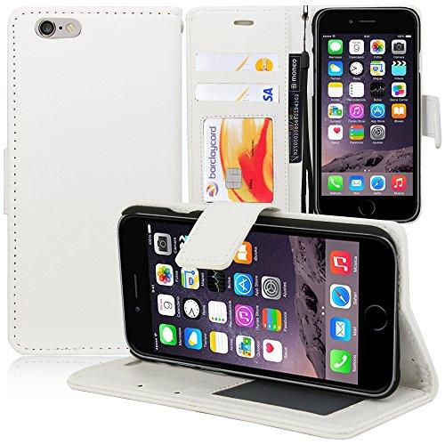 VComp-Shop® PU-Leder Handy Brieftasche mit Kartenfächer und Video-Standfunktion für Apple iPhone 6 Plus/ 6s Plus + Großer Eingabestift - PINK WEISS