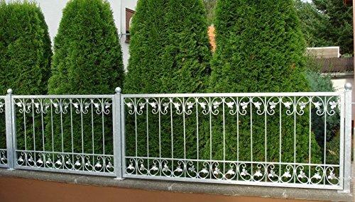 Schmiedeeisen Zaun Zäune Eisen Gartenzaun Metall Monaco-Z60/200 Verzinkt 200 cm