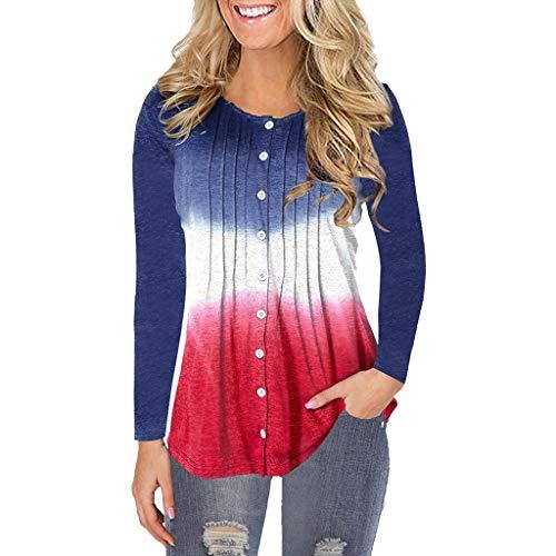 kolila Damen Tops Button Down Langarm O-Ausschnitt Plissee Gradient/Einfarbig Pullover T-Shirt Tunika Bluse Oberteile -