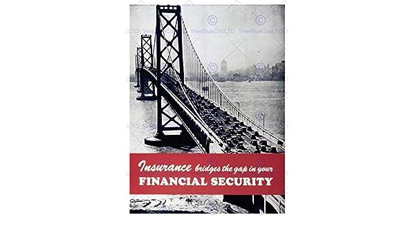ADVERT INSURANCE FINANCE BRIDGE SECURITY TRAFFIC RIVER CITY POSTER PRINT BB7921B