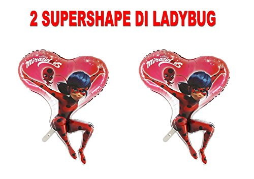 PARTY STORE WEB by casa dolce casa Ladybug Miraculous Fußball Foil Luft Oder Helium Party Dekoration und Tisch-CDC (2Bälle Supershape)