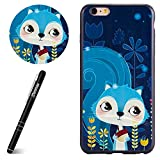 "Slynmax H�lle f�r iPhone 6 Plus - TPU Silikon Backcover Case Handy Schutzh�lle Weiche Silikon Case Cover R�ck mit Bunte Muster Design Schutzh�lle f�r iPhone 6 Plus/6S Plus 5.5"",Blaues Eichh�rnchen Bild"