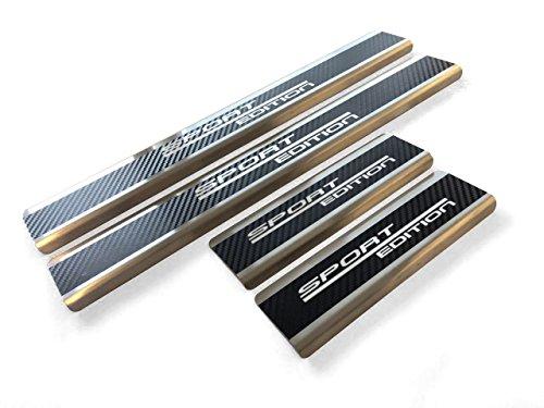 Preisvergleich Produktbild Tuneon 660 Top Edelstahl Carbon Einstiegsleisten mit Schriftzug