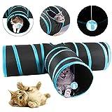 Yaheetech Katzentunnel Katzenspielzeug 3-Wege Tunnel Spieltunnel 81cm, ⌀ 24.5cm faltbar für Kaninchen, Katze Hunde und Kleintiere Haustier