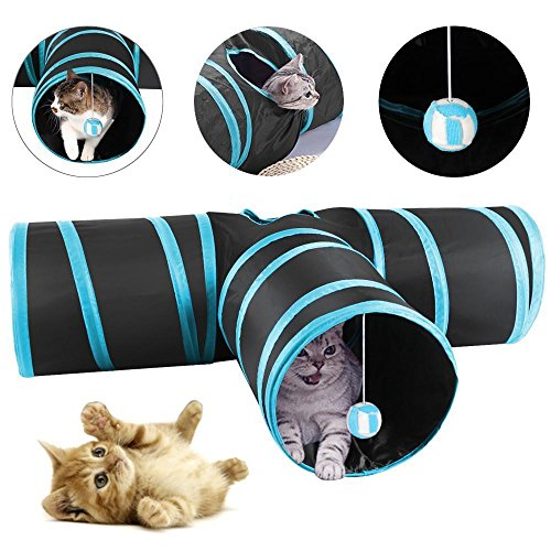 Yaheetech Túnel para Gatos 3 Vías Túnel Plegable Juego de Gatos con Bola Tubo de Diversión