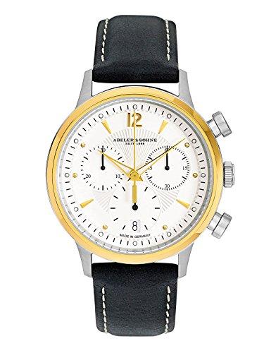 Abeler & Söhne fabricado en Alemania–Reloj de pulsera para mujer con cronógrafo, cristal de zafiro y correa de piel as3304