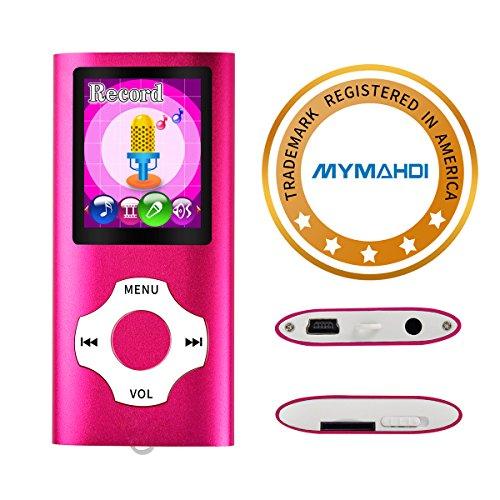 Mymahdi reproductor portátil MP3 / MP4, rosa con pantalla de 1,8 pulgadas de LCD y ranura para tarjetas micro SDHC, tarjeta de 128GB Micro SD TF de apoyo máximo