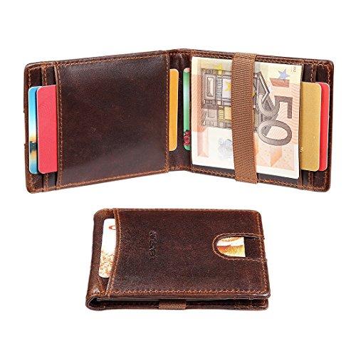 Herren Geldbörse mit RFID-Schutz, Lensun Schlankes Brieftasche aus Echtem Leder Geldscheinklammer Geldfach Reisegeldbörse Minimalistische Minibörse für Männer in Geschenkverpackung (QB-QJ-DB) (Hintere Isolierung)