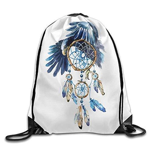 Bag shrots Atrapasueños con Estampado de águila con cordón Mochila Bandolera Bolsa de Gimnasio Bolsa de Deporte