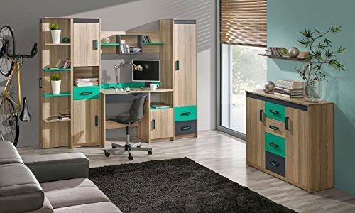 Jugendzimmer - Schreibtischaufsatz Marcel 17, Farbe: Esche Türkis / Grau / Braun - Abmessungen: 51 x 216 x 39 cm (H x B x T) - 6