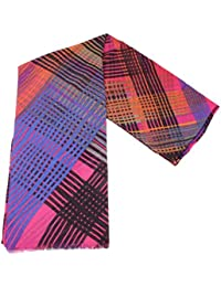 Pink/Blue/Orange Bright Check Wrap Scarf by Fraas
