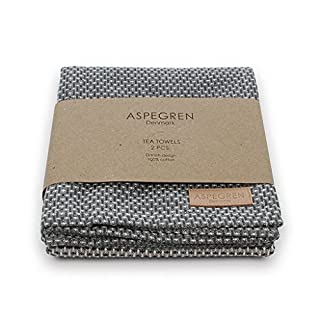Geschirrtuch WAFFLE grey /off white 50 x 70 cm im 2 er Set aus 100%Baumwolle von Aspegren