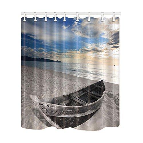 Kotom tenda da doccia nautica, una vecchia barca sulla spiaggia dell'oceano tessuto impermeabile in poliestere tende da bagno con ganci per il bagno home decor, 69x70 pollici