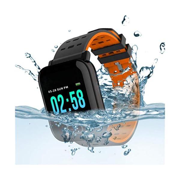 Pulsera inteligente con monitor de actividad física, pantalla de color A6, Bluetooth, monitor de ritmo cardíaco, podómetro, pulsera inteligente para niños, mujeres y hombres azul 4