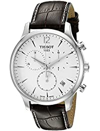 Tissot T0636171603700 Men's Brown Leather Band Steel Case Quartz Silver-Tone Dial Chronograph Watch