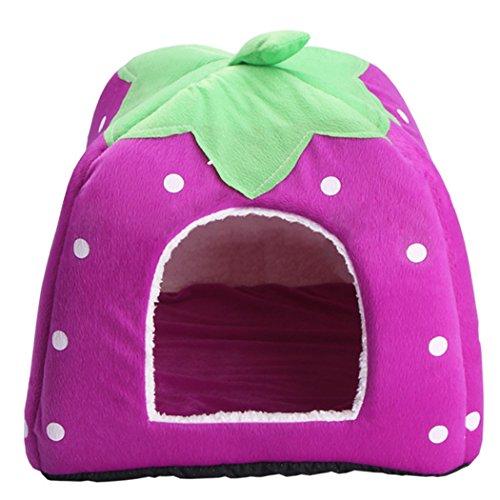 Yihya Pieghevole e Lavabile Carina Blu Fragola Cadere Inverno Morbido Molle Pet Puppy Gatto Canile Sonno Letto Doggy Doghouse Cuscino Basket (Grande: 36 * 36 * 36 cm)