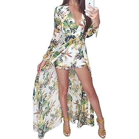 LaoZan Le Donne Profondo Scollo A V Chiffon Floreale Vestito Lungo Con Pantaloncini Verde Chiaro M