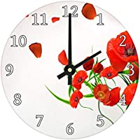 Red Poppy Flower Modern Abstract Glass Large Kitchen Bedroom Wall Clock