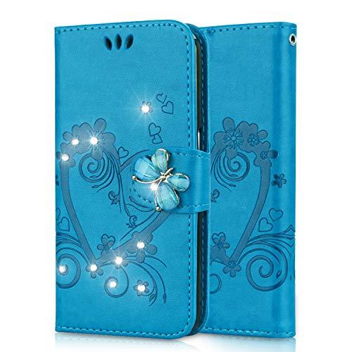 Lspcase Samsung Galaxy S5 Flip Cover, Samsung Galaxy S5 Neo Diamante Bling Libro Custodia in Pelle Portafoglio con Supporto Case per Samsung Galaxy S5 / S5 Neo Modello di Fiore Farfalla Blu