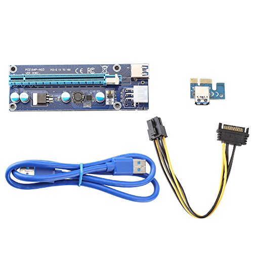 PCI PCI-E 1X bis 16X Riser Karten Verlängerungskabel USB 3.0 Kabel / 15Pin SATA zu 6Pin Netzkabel für BTC Miner