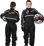Qtech - Kinder Rennanzug für Gokart/Motocross/Dirt Bike - Schwarz - S