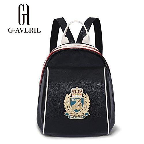 (G-AVERIL) Borse Nuovi chiusura lampo di modo di viaggio ragazza della scuola Borse borsa di cuoio Zaini PU nero