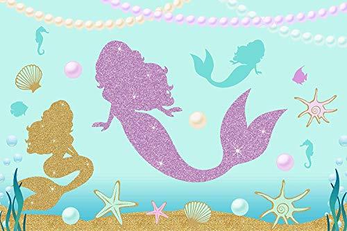 d Princess Blue Underwater World Kulissen Seahorse Pearl 7x5ft Foto Hintergrund für Baby-Geburtstagsfeier ()