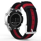 MoKo Armband für Samsung Gear S3 Frontier/Galaxy Watch 46mm / Classic/Moto 360 2nd Gen 46mm - Nylon Strick Sportarmband Uhrenarmband Uhr Erstatzband mit Schließe, Schwarz/Rot