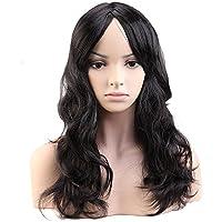 Peluca Negra Mujer Larga Rizada con Flequillo Pelo Se Ve Natural Pelucas  Sintéticas para Cosplay Disfraz 6b1561d708c7