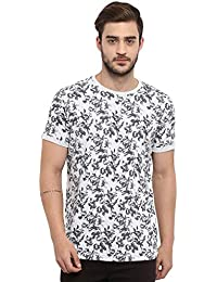 Mufti Men's Floral Slim fit T-Shirt (MFK-7016_Grey_Xx-Large)