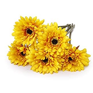 5pcs Flores Margaritas Africanas Artificiales Flores Decorativas de Color Amarillo