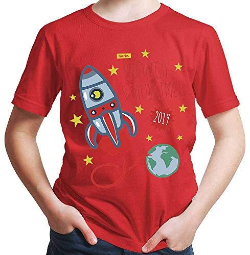 HARIZ  Jungen T-Shirt Endlich Schulkind 2018 Rakete Einschulung Schulanfänger Geschenk Gratis Geschenkkarten Rot 116/5-6 Jahre