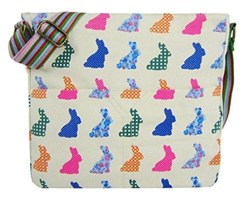 Kukubird Vari Animali E Fiore Crossbody Design Top-manico A Tracolla Del Totalizzatore Beige Rabbit